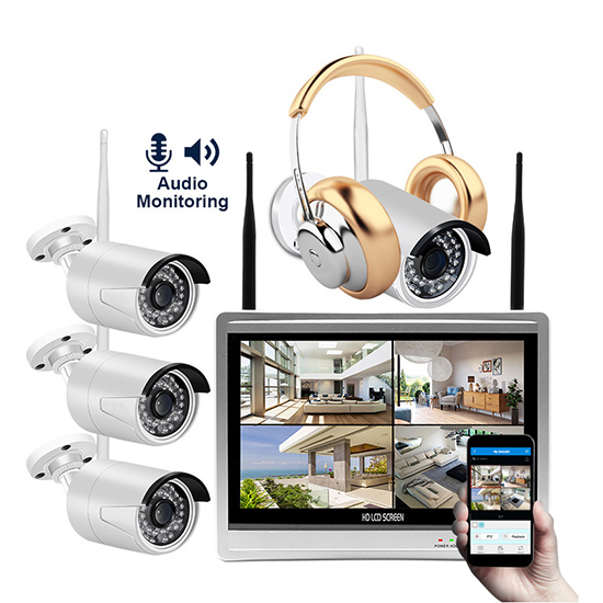 4CH 720p 1mp HD Audio Monitoring Waterproof Network Camera NVR Kit Set Suit with 12inch screen