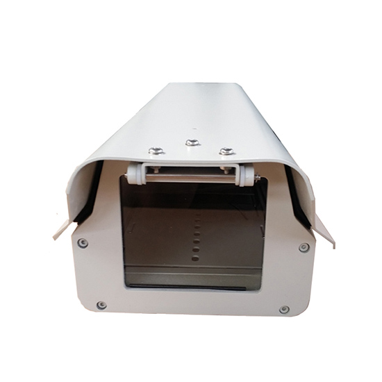 Outdoor cctv camera housing IP66 waterproof monitoring security shield cover case aluminium sun shield wiper optical glass