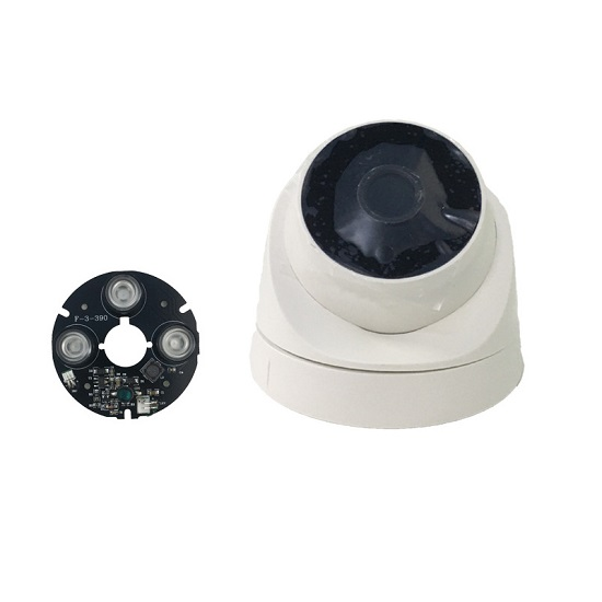 ABS Plastic Indoor CCTV Surveillance Dome Camera Housing Shell Cover Case with Hidden 3*Array IR LED Board