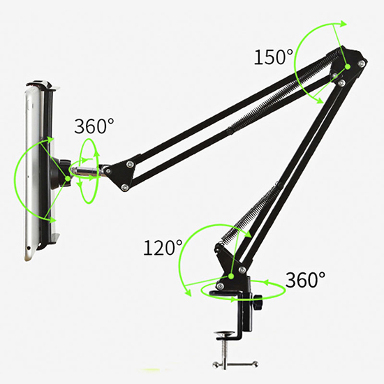 6-11 inch Tablet PC Phone Universal 360 Rotating Flexible Long Arm Lazy Desktop Bedside Mobile Phone Holder Stand Bracket