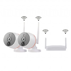 2CH 1080p 2megapixels HD Wireless WIFI Connection Outdoor Mini PIR Detection Network Camera NVR Kit Set Suit